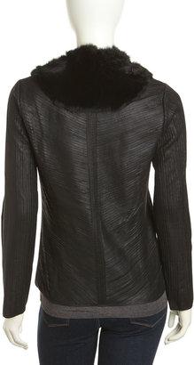 Neiman Marcus Rabbit-Collar Leather Jacket, Black