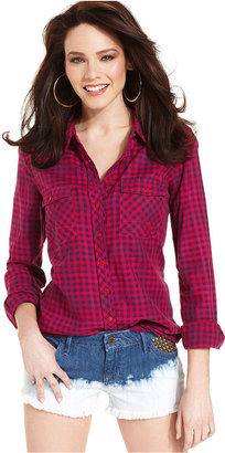GUESS Top, Long-Sleeve Gingham-Plaid Blouse
