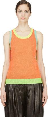 Yohji Yamamoto Fluorescent Orange Colorblocked Top $730 thestylecure.com