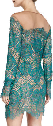 For Love & Lemons Grace Fringed Floral-Lace Dress, Turquoise