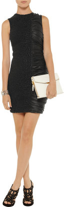 Alexander Wang Smocked and ruched leather dress