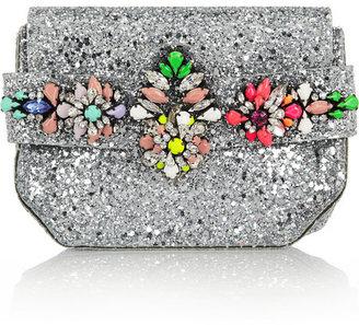 Shourouk Crystal-embellished glitter-finished PVC clutch