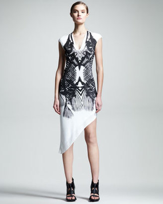 Helmut Lang HELMUT Fish-Print Asymmetric Dress