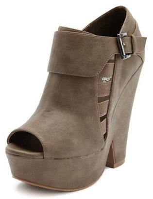 PeepToe Cutout Peep-Toe Wedge Bootie