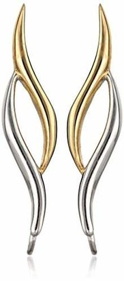 The Ear Pin Sterling Two-Tone Classic Curves Polished Bright Earrings