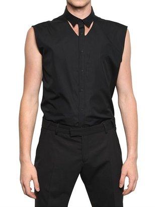 Thierry Mugler Cut Out Cotton Poplin Sleeveless Shirt