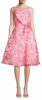 Eliza J Tie-Waist Lace Fit--Flare Dress