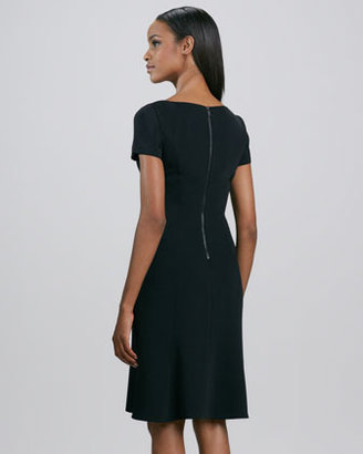 Elie Tahari Georgia Short-Sleeve Flounce Dress