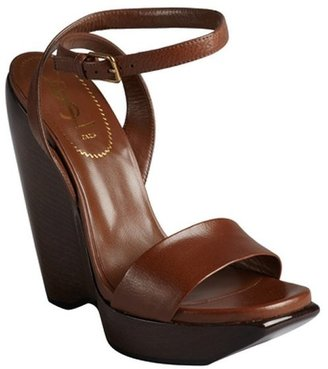 Saint Laurent chocolate leather laminated stacked wedge sandals