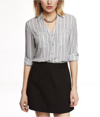 Express Outlined Stripe Convertible Sleeve Portofino Shirt