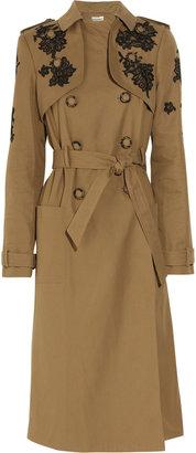 Erdem Leta lace-appliquéd twill trench coat