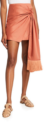 Mother of Pearl Carrie Knotted Fringe Mini Skirt