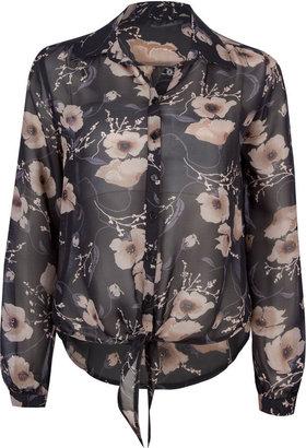 Full Tilt Floral Tie Front Womens Shirt