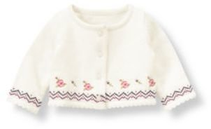Janie and Jack Cross-Stitched Crop Cardigan