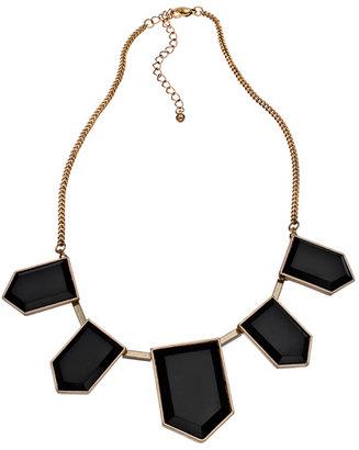 Blu Bijoux Gold with Black Hexagons Bib Necklace