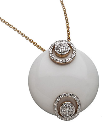 Topten Top Ten White Onyx Ball and Diamond Pave Pendant Necklace