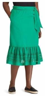Lauren Ralph Lauren Plus Self-Tie Ruffle Hem Midi Skirt