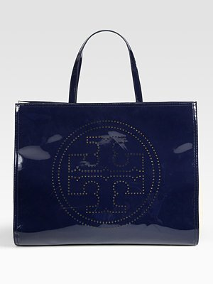 Tory Burch Perforated Logo Patent Leather Tote Bag