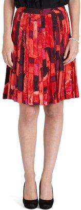 Brooks Brothers Silk Pleated Print Skirt