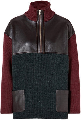 Etro Wool Zip Pullover with Leather Trim