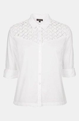 Topshop Crochet Yoke Shirt