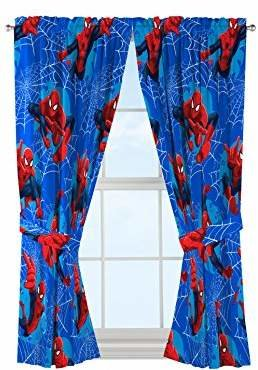 "Spiderman Jay Franco Marvel 'Astonish' 42"" x 63"" Curtain Panel Pair with Tie Backs Drape Set"
