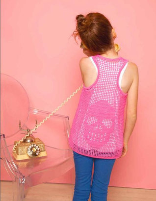 Autumn Cashmere Pink Crochet Tank Top With Skull Back Detail