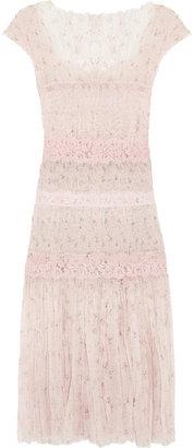 Nina Ricci Lace-paneled silk-chiffon dress