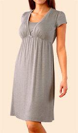 Mimi Maternity Short Sleeve Deep V-Neck Nursing Nightgown