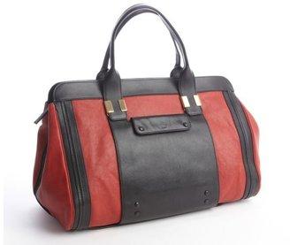 Chloé red black leather 'Alice' colorblock satchel