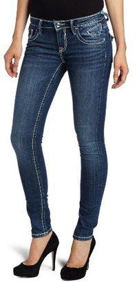 Vigoss Juniors Skinny Single V Rhinestone Flap Jean