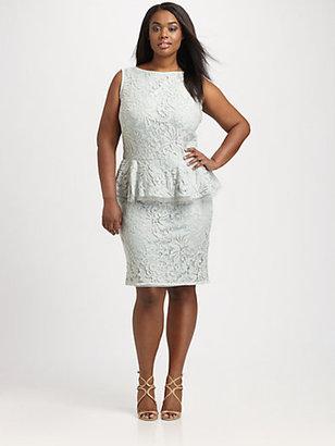 Tadashi Shoji, Sizes 14-24 Lace-Overlay Peplum Dress