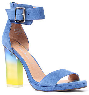 Jeffrey Campbell The Soiree Shoe in Blue Suede with Gradient Green Heel