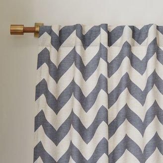 west elm Cotton Canvas Zigzag Curtain - Feather Gray