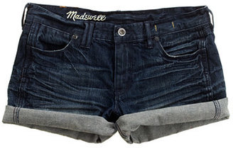 Madewell Denim Midi Shorts in Locomotive Wash