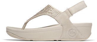 """FitFlop Flare"""" Pebble (Beige) Suede and Crystal Thong Slingback"""