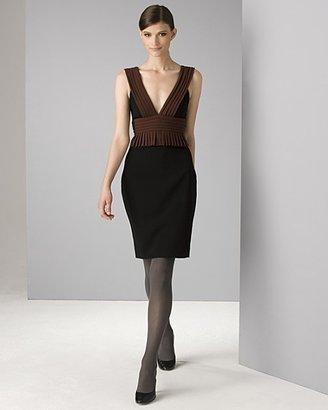 Black Halo Women's Sleeveless Double Stretch Crepe Pleated Sheath Dress