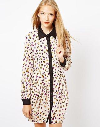 Jovonna Leopard Print Shirt Dress