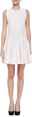 Alexander McQueen Floral-Embossed Full-Skirt Dress, Rose