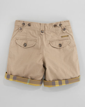 Burberry Check-Lined Twill Shorts