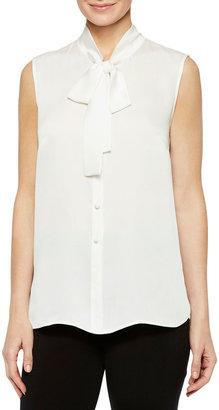 Misook Plus Size Tie-Neck Sleeveless Button Down Blouse