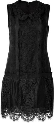 Anna Sui Black Sleeveless Lace Overlay Dress