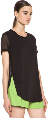 3.1 Phillip Lim T-Shirt with Pin and Eyelet Embellishment in Soft Black