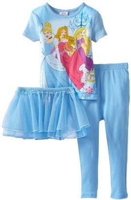 Disney Girls Toddler Dazzling Princesses Short Sleeve 3 Piece Pajama Set