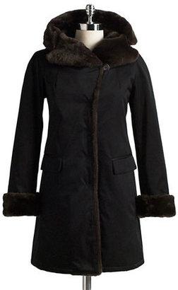Jane Post Faux Fur-Trimmed Walking Coat