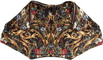 Alexander McQueen Black Floral De Manta Clutch Bag