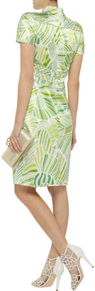 Mikael Aghal Button-embellished printed silk-satin dress