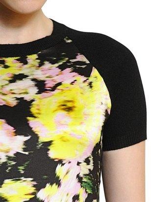 Erdem Printed Silk & Wool Cashmere Knit Top