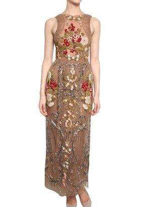 Valentino Hand Made Embroidered Silk Tulle Dress