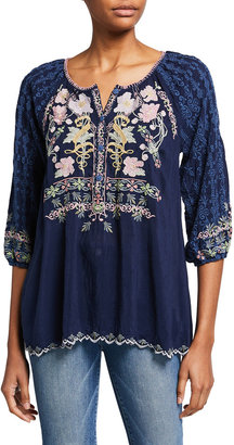Johnny Was Vista 3/4-Sleeve Embroidered Blouse